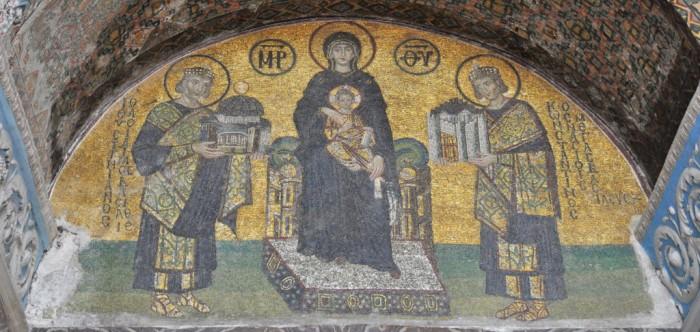 Emperor-Constantine-And-Justinian-Mosaic-Hagia-Sophia